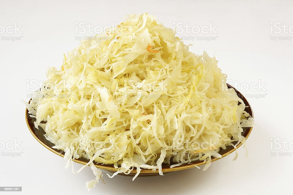 A bowl full of fresh sauerkraut stock photo