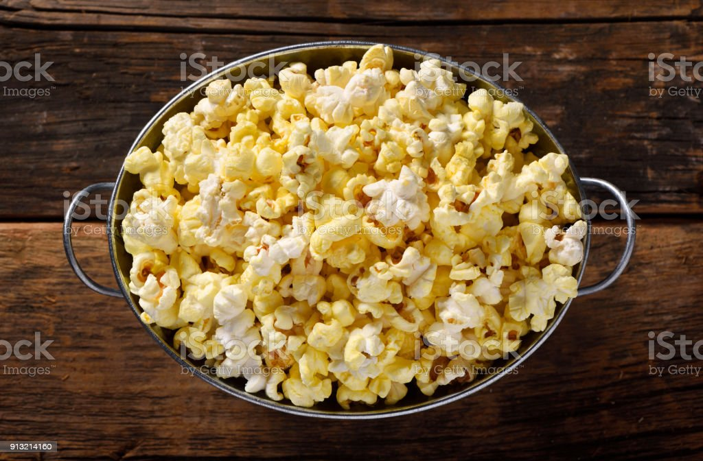 Bowl full of popcorn stock photo