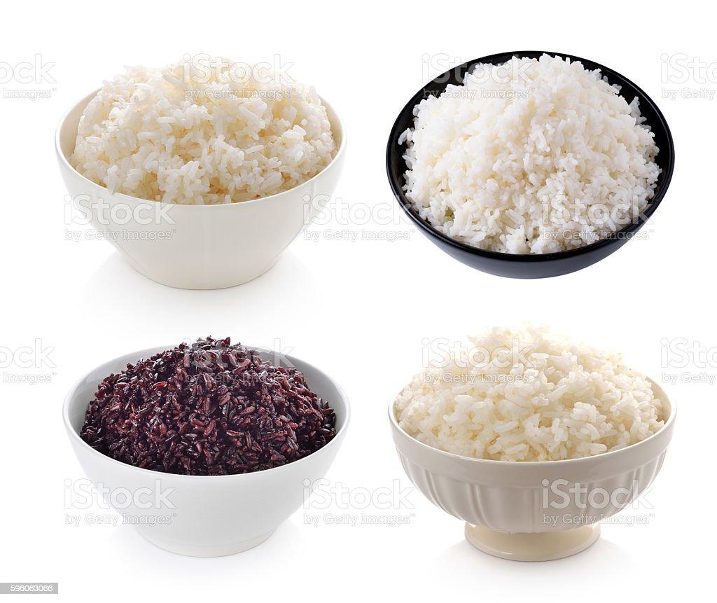 bowl full of rice on white background royalty-free stock photo