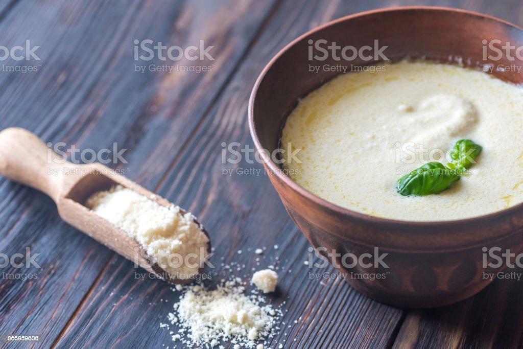 Bowl of alfredo - Italian pasta sauce stock photo