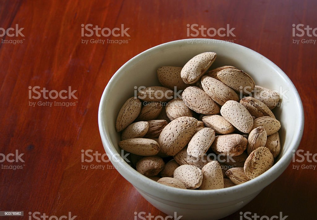 Bowl of almonds royalty-free stock photo
