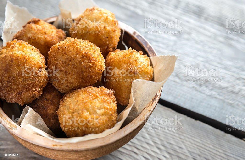 Bowl of arancini stock photo