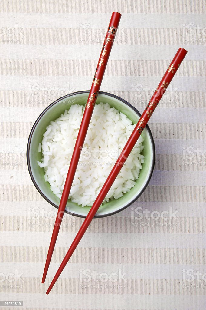 Bowl of Asian rice with chopsticks ready to use royalty-free stock photo