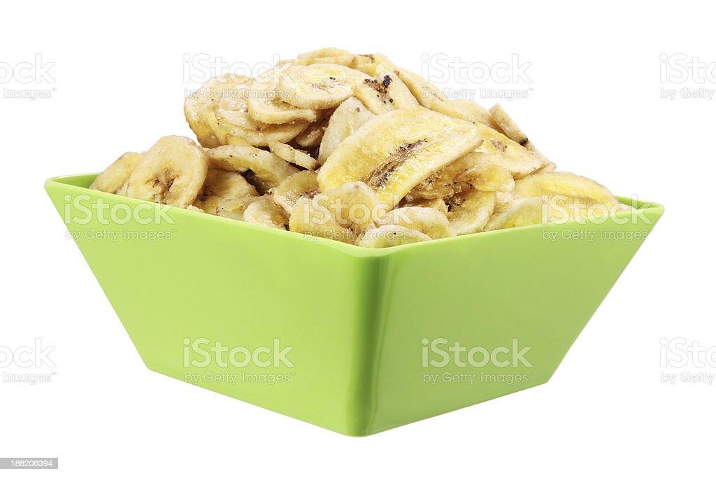 Bowl of Banana Chips stock photo