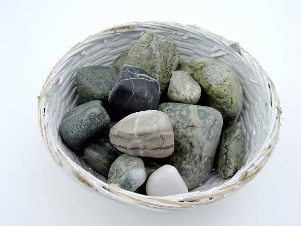 Bowl of Beach Rocks stock photo