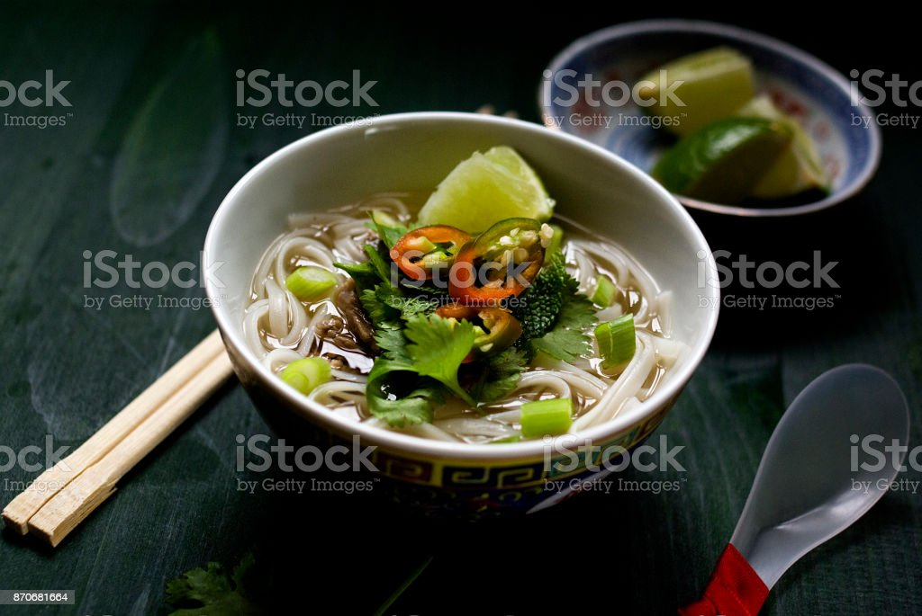 Bowl of Beef Pho Soup stock photo