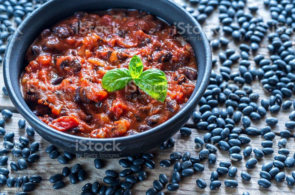 Bowl of black bean chili - foto de acervo