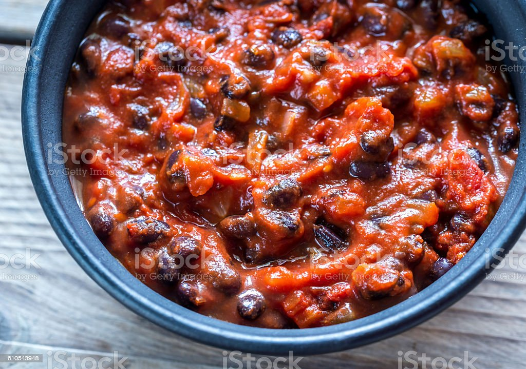 Bowl of black bean chili stock photo