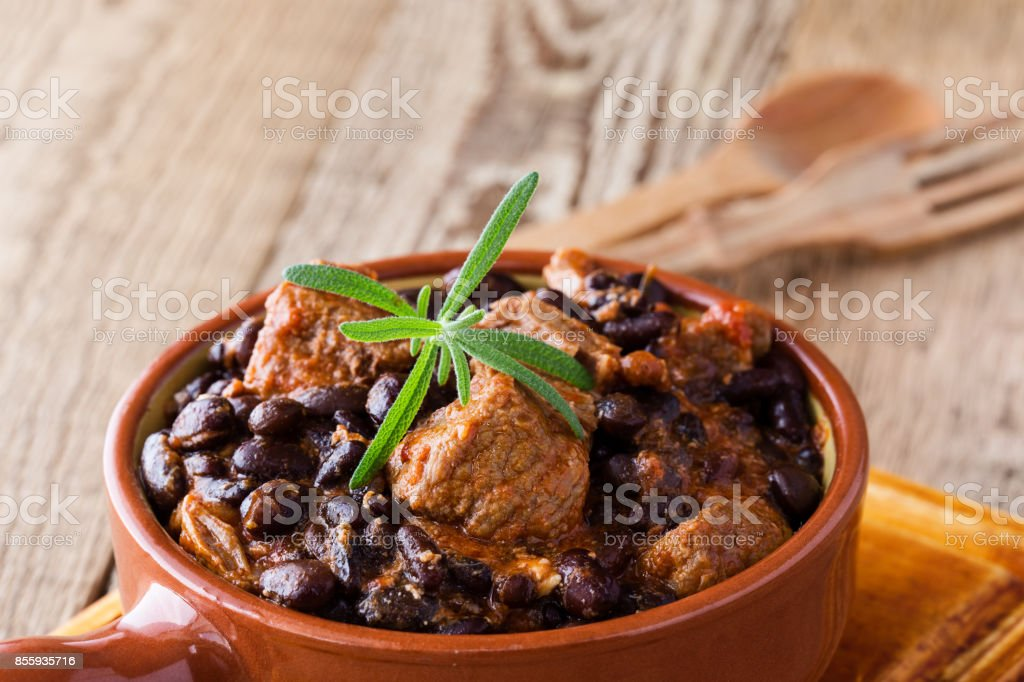Bowl of black bean chili with beaf stock photo