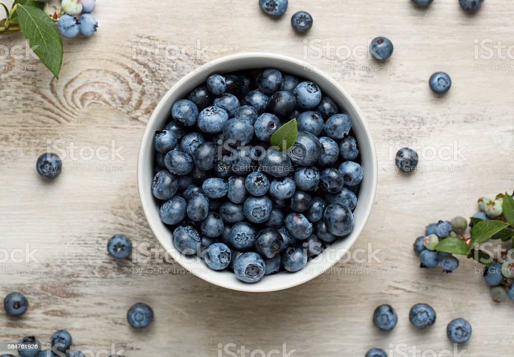 Bowl of blueberries stock photo