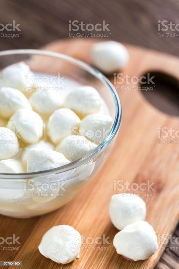Bowl of Bocconcini mozzarella stock photo