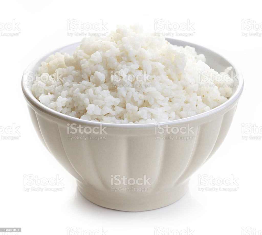 Tigela de arroz cozido - foto de acervo