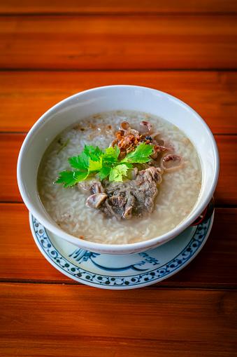 Bowl of boiled rice pork