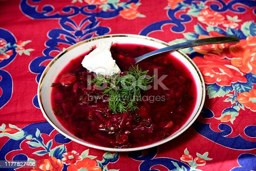 istock A bowl of borscht garnished with dill and a dollop of smetana (sour cream) 1177827408