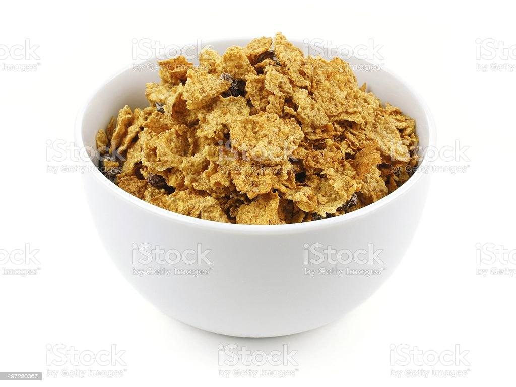Bowl of bran flake cereal stock photo