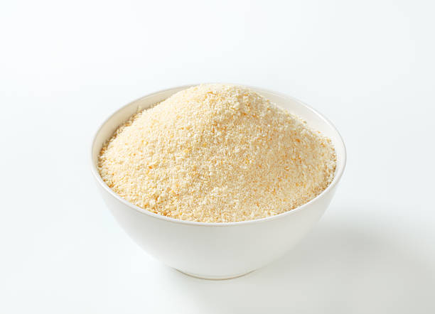 bowl of breadcrumbs stock photo