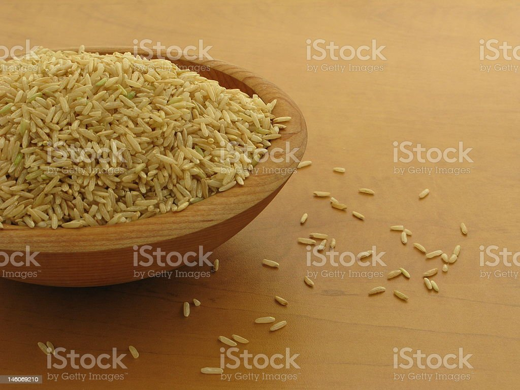 Bowl of Brown Rice stock photo