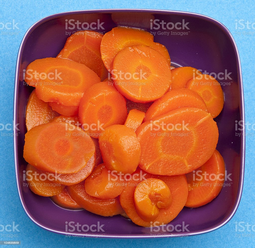 Bowl of Canned Carrots royalty-free stock photo
