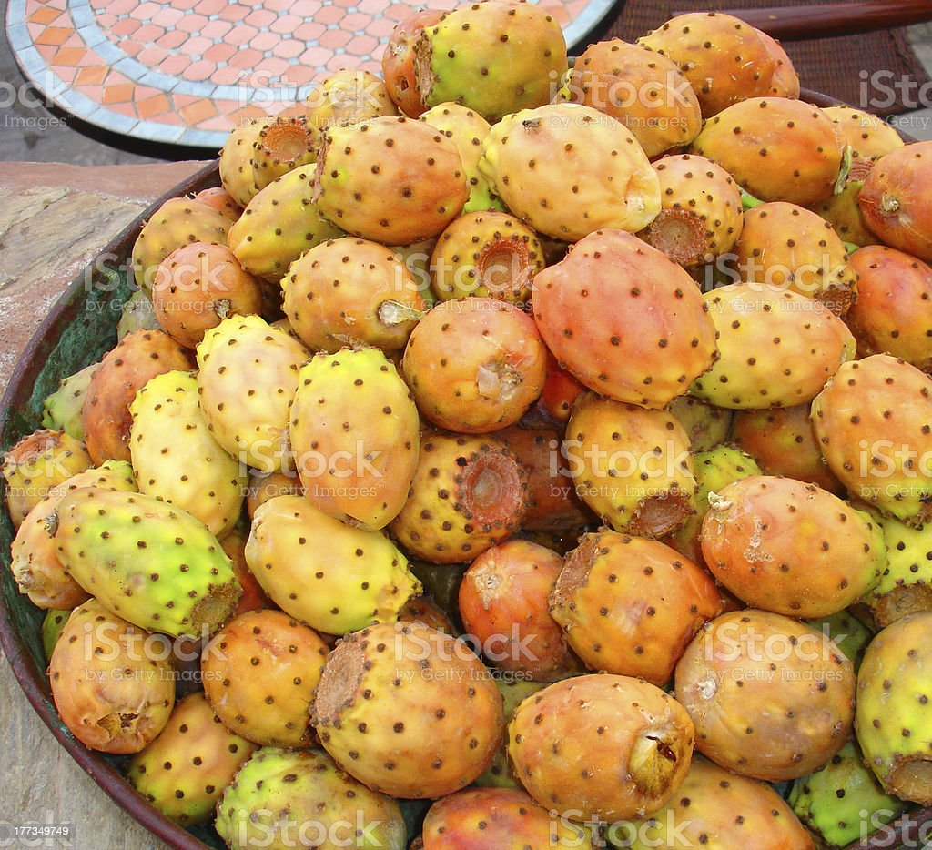 Bowl of catus fruit/prickly pear stock photo