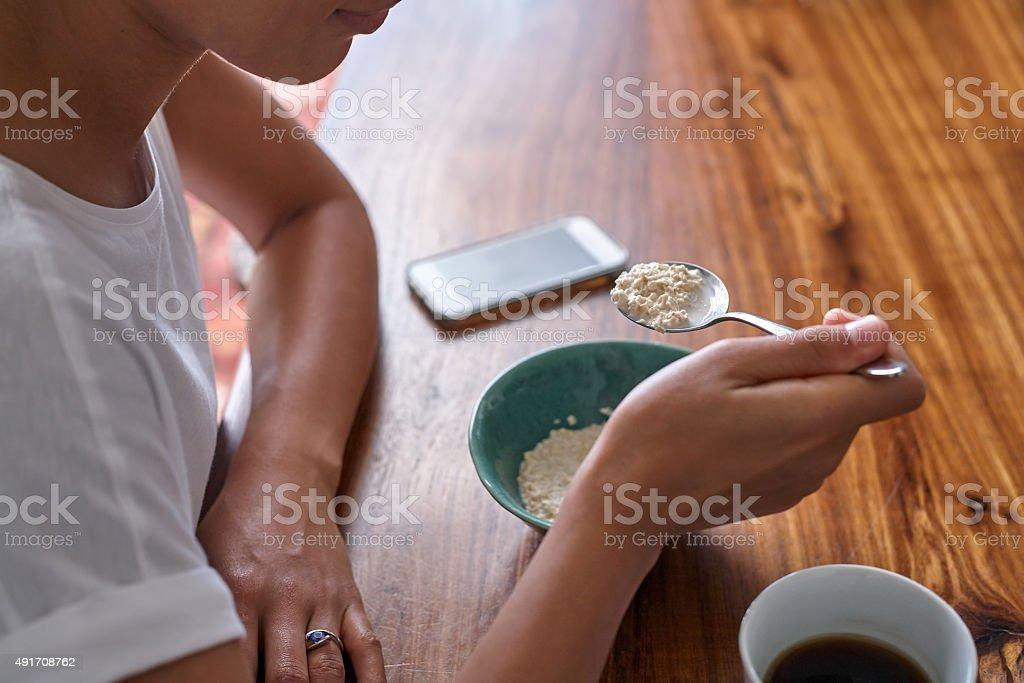bowl of cereal coffee mug stock photo