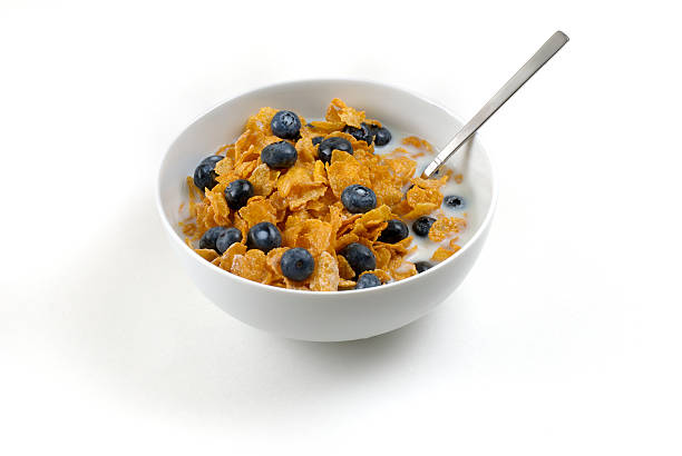 Bowl of cereal with blueberries stock photo