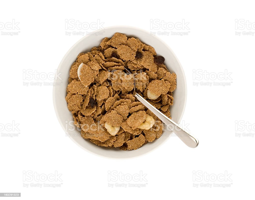 Bowl of cereal with spoon and clipping path stock photo