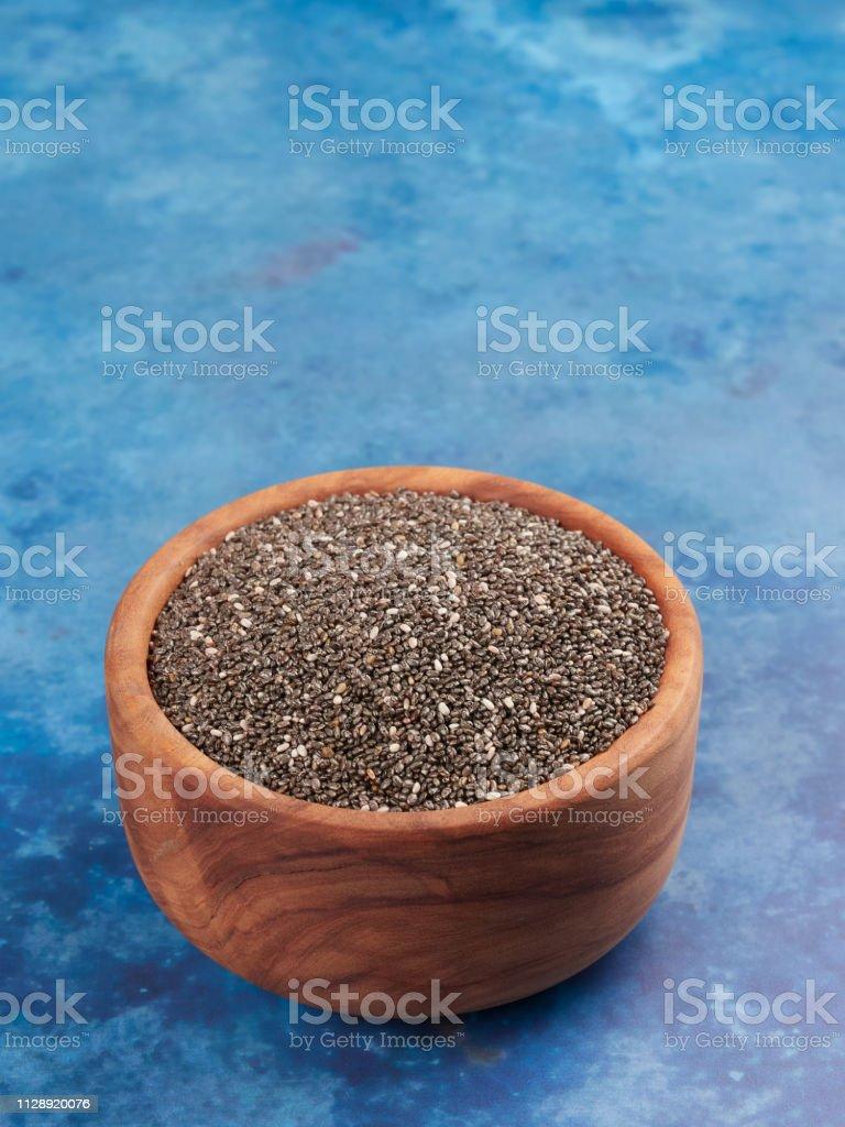A bowl of chia seeds (Salvia Hispanica) stock photo