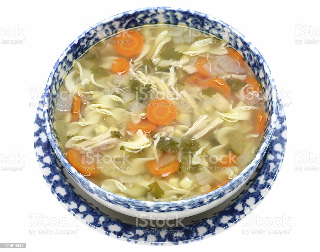 bowl of chicken noodle soup royalty-free stock photo
