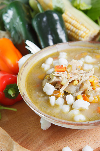 Bowl of chicken posole. stock photo
