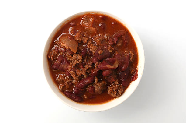 Bowl of Chili Bowl of chili isolated on a white background chili con carne stock pictures, royalty-free photos & images