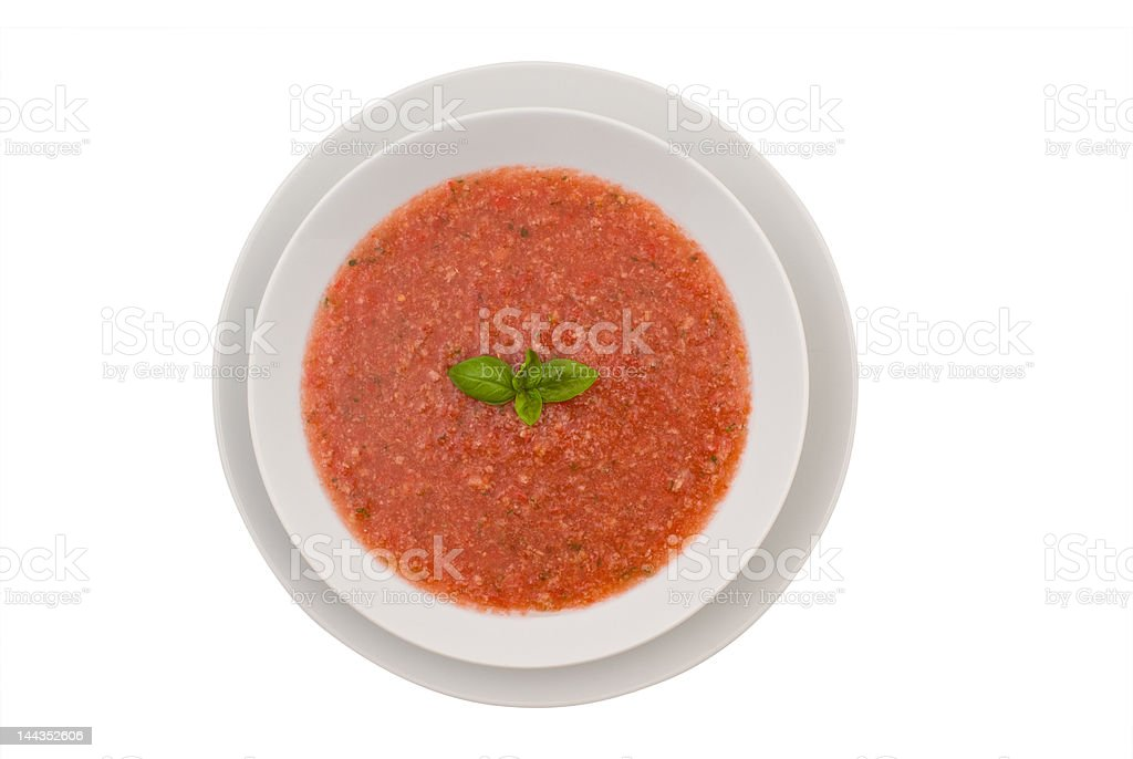 Bowl of chilled gazpacho soup royalty-free stock photo
