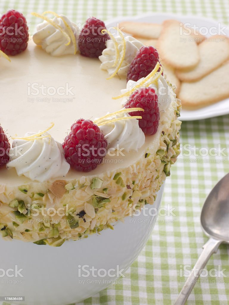 Bowl of Chilled Lemon Souffle with Biscuits royalty-free stock photo