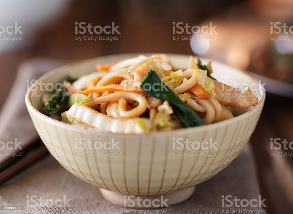 bowl of chinese chicken lo mein stock photo