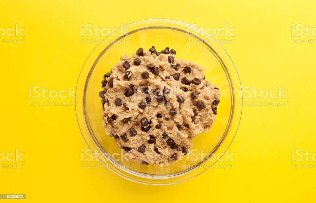 Bowl of Chocolate Chip Cookie Dough stock photo
