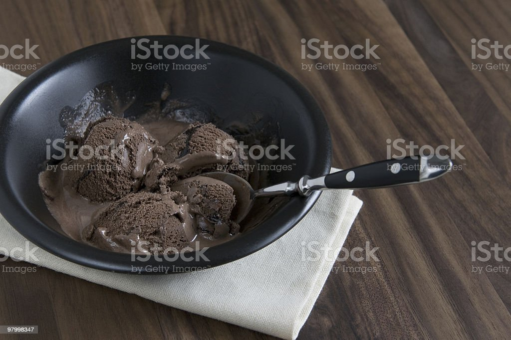 bowl of chocolate ice cream royalty free stockfoto