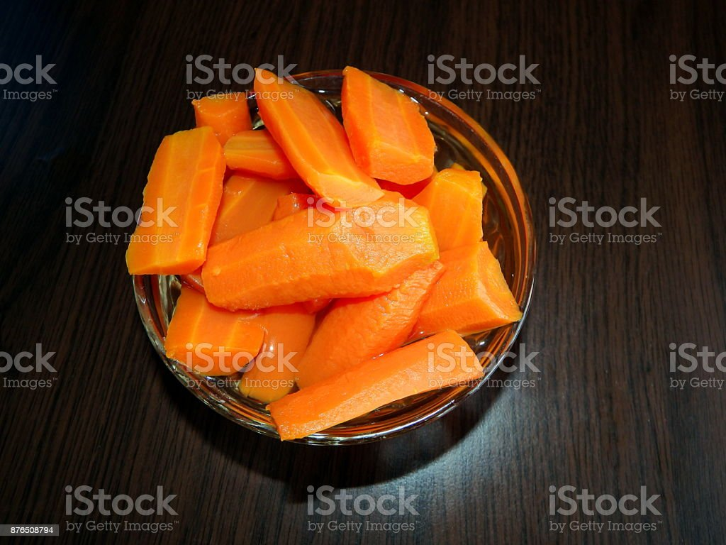 Bowl of chopped carrot royalty-free stock photo