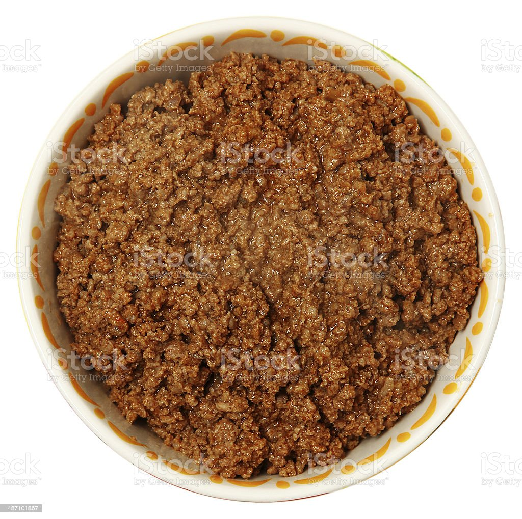 Bowl of Cooked Ground Beef Over White stock photo