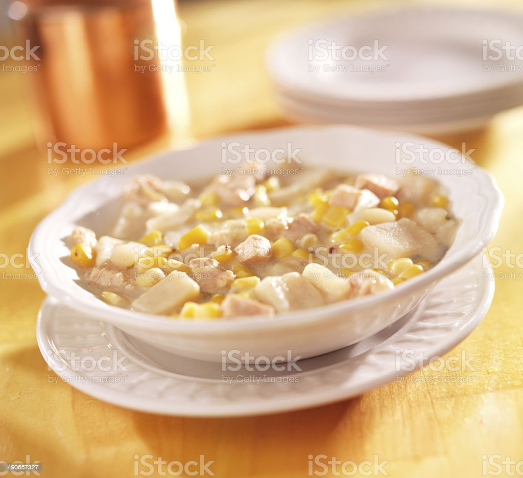bowl of corn chowde royalty-free stock photo
