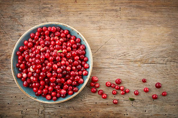 bowl of cowberries - cranberry stock photos and pictures