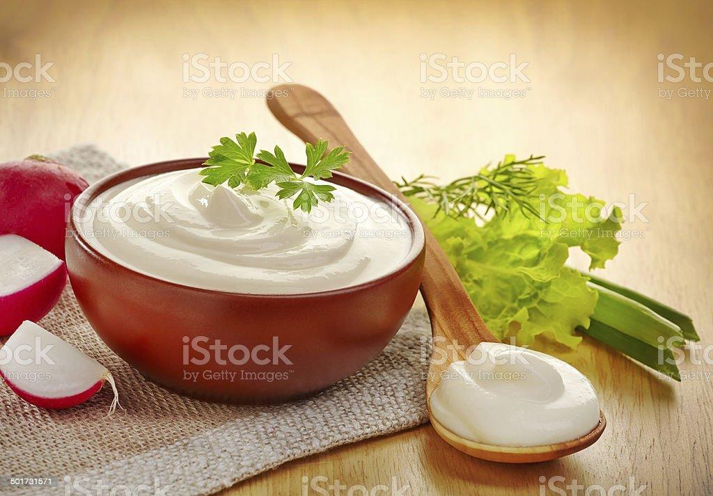 bowl of cream stock photo