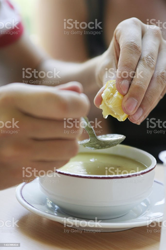 Bowl of cream soup royalty-free stock photo