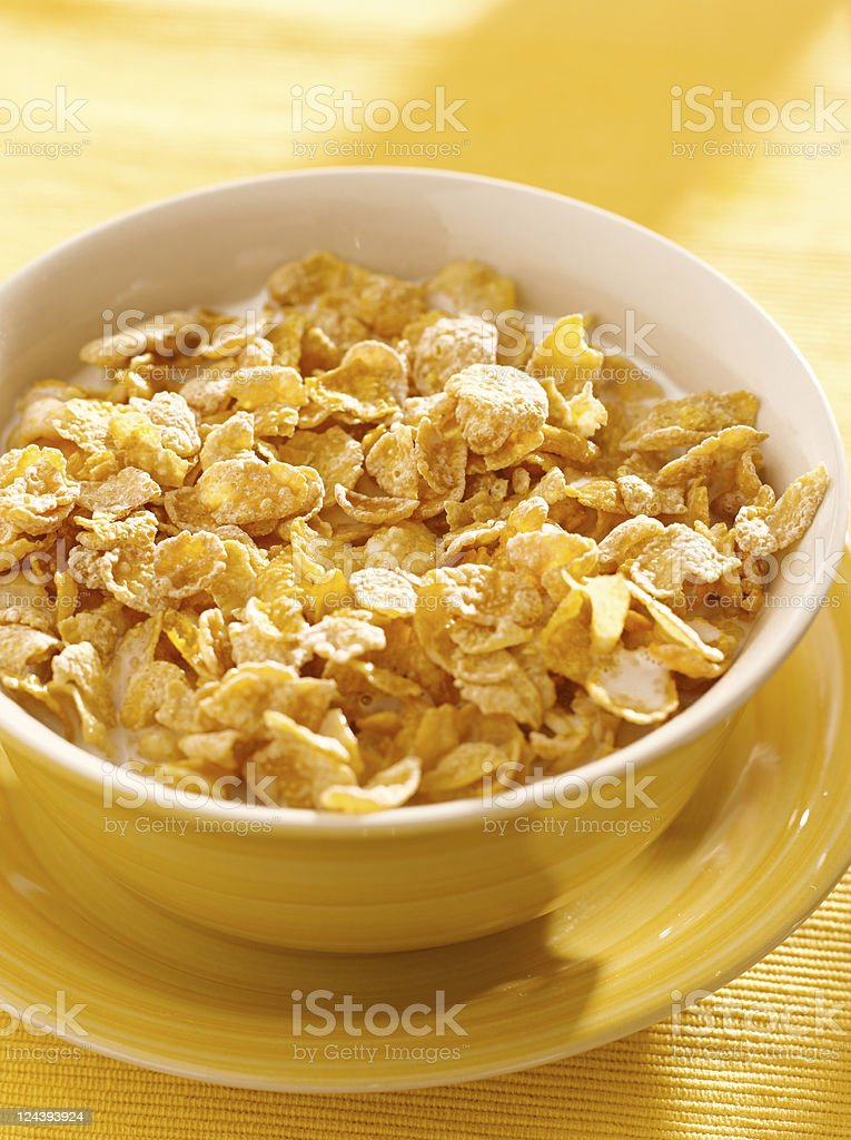 bowl of crunchy corn flakes for breakfast royalty-free stock photo