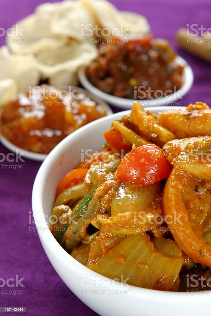 Bowl of curried vegetables royalty-free stock photo