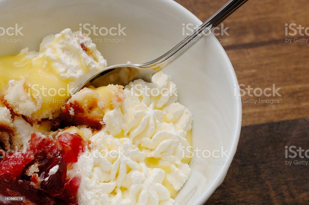 Bowl of dessert fruit trifle stock photo