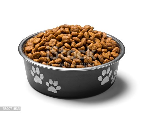 A bowl of dog food on white background, isolated with clipping path attached.  Please see my portfolio for other pet related images.