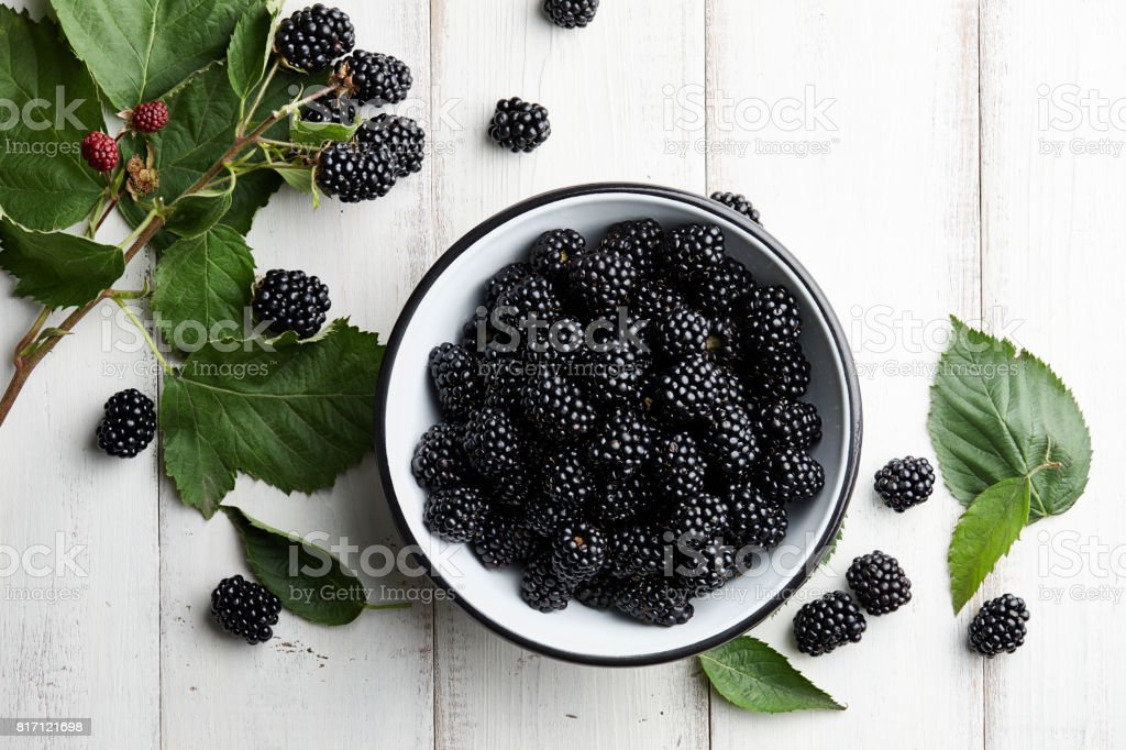 Bowl of fresh blackberries on stone background stock photo