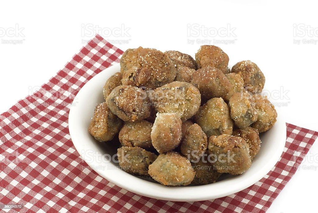 Bowl of Fresh Fried Okra royalty-free stock photo