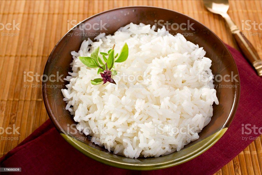 Bowl of freshly prepared jasmine rice stock photo