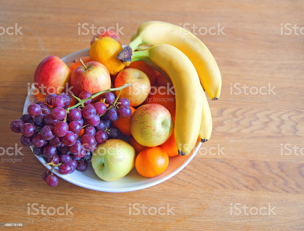 bowl of fruit stock photo
