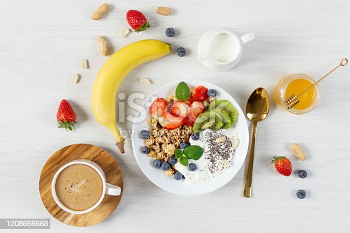 599887760 istock photo Bowl of granola with yogurt, fresh berries and fruits, cup of coffee on white wooden table background top view. 1208666668